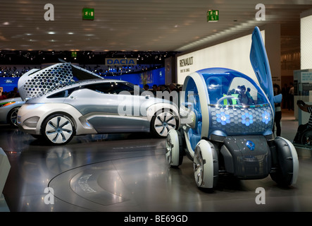 Renault Twizy ZE and Zoe Ze concept futuristic electric cars at Frankfurt Motor Show 2009 - Stock Photo