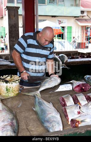 The lively fish market Sir Selwyn Clarke Market on Market Street, Victoria, Mahe Island, Seychelles, Indian Ocean, - Stock Photo
