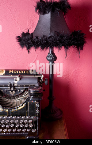 View of an old-fashioned typewriter, circa 1900-1920. - Stock Photo