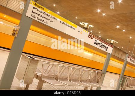 Subway line U55, Bundestag metro station, Berlin, Germany, Europe - Stock Photo