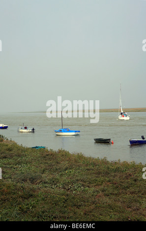 Rowing and sailing boats on River Somme, St Valery sur Somme, Somme, France, Europe - Stock Photo
