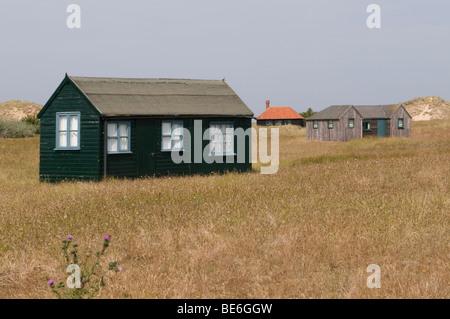 Wooden huts at Blakeney Point, Norfolk.