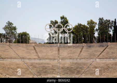 The Panathinaiko or Panathenaic Stadium, also known as the Kallimarmaro Athens Greece - Stock Photo
