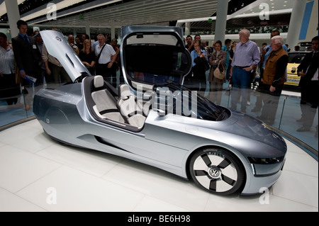 Volkswagen L1 ultra low fuel consumption concept vehicle on display at the Frankfurt Motor Show 2009 - Stock Photo