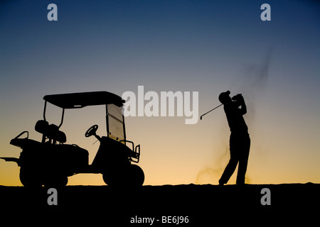 Early morning golfer - Stock Photo
