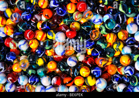 Colorful glass beads, filling the picture - Stock Photo