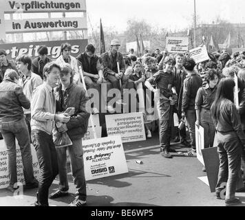 Demonstration on the 1st of May, Leipzig, GDR, East Germany, historical photo, about 1985 - Stock Photo