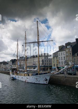 Old schooner named Alva in the port of Cherbourg, Normandy, France - Stock Photo