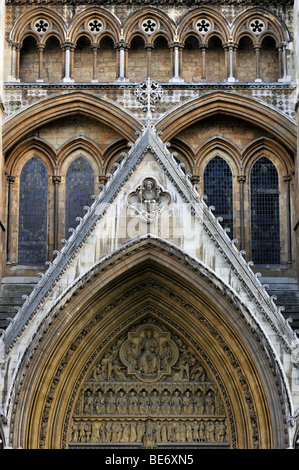 Westminster Abbey, detailed view of the north transept with portal arches, London, England, United Kingdom, Europe - Stock Photo
