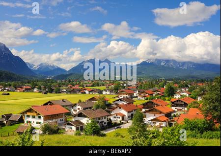 The village Kruen in the Upper Bavarian in district of Garmisch-Partenkirchen, Bavaria, Germany, Europe - Stock Photo
