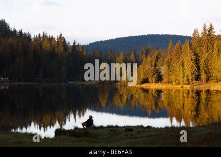 Man fishing in Lake Prebersee, morning, Lungau, Salzburg state, Salzburg, Austria, Europe - Stock Photo