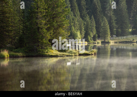 Morning mood at Lake Prebersee, Lungau, Salzburg state, Salzburg, Austria, Europe - Stock Photo