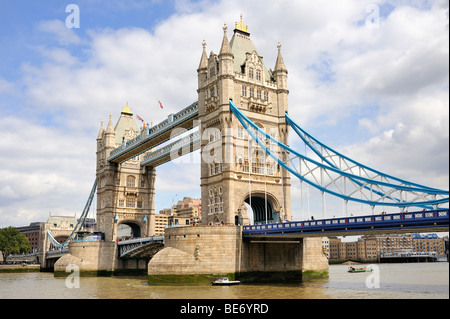 View from the south bank of the Thames on the neo-Gothic bascule bridge Tower Bridge, London, England, United Kingdom, - Stock Photo