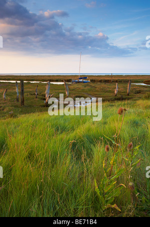 A summer evening at Thornham Harbour on the North Norfolk Coast - Stock Photo
