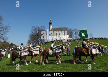 Georgiritt, George's Ride, Easter Monday procession, Ettendorf Church, Traunstein, Chiemgau, Upper Bavaria, Bavaria, - Stock Photo