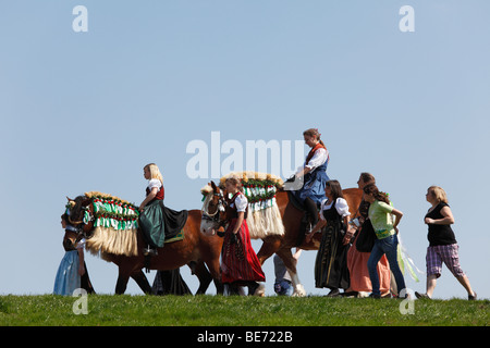 Georgiritt, George's Ride, Easter Monday procession to the Ettendorf Church, Traunstein, Chiemgau, Upper Bavaria, - Stock Photo