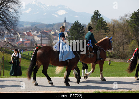 Georgiritt, George's Ride, Easter Monday procession, Traunstein, Chiemgau, Upper Bavaria, Bavaria, Germany, Europe - Stock Photo