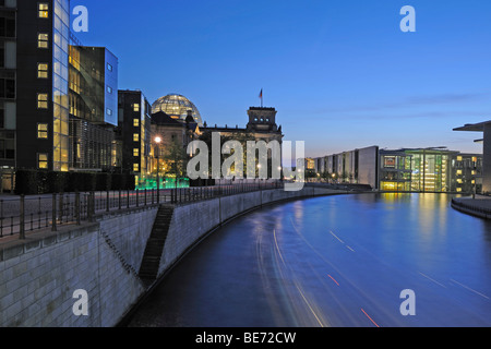 Spree River in the government quarter with the Reichstag building at night, Berlin, Germany, Europe - Stock Photo