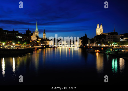 Zurich at night, Switzerland, Europe - Stock Photo