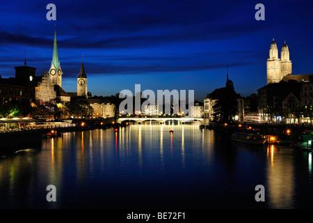 Zurich at night, Switzerland, Europe - Stock Photo