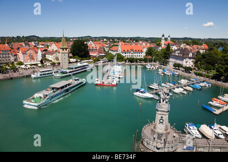 Aerial view of boats in harbour and picturesque old town waterfront on Lake Constance (Bodensee). Lindau, Bavaria, - Stock Photo
