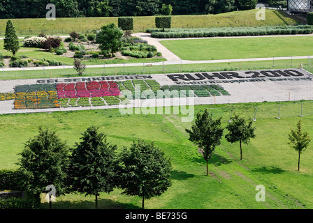 Logo, Ruhr 2010 Cultural Capital of Europe, made from plants in Nordstern Park, Gelsenkirchen, North Rhine-Westphalia, - Stock Photo