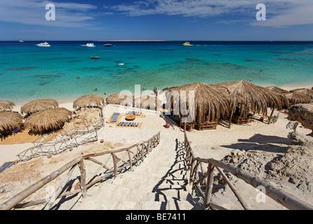 Beach, parasols, lagoon, swimmers, people, ships, Beach Mahmya, beach, Giftun Island, Hurghada, Egypt, Africa, Red - Stock Photo