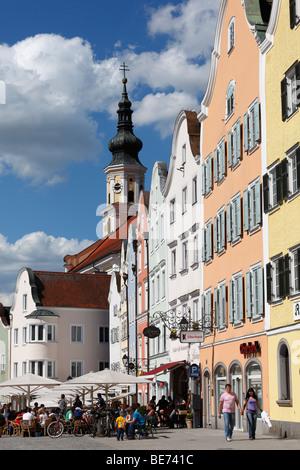 Silberzeile and parish church, Schaerding, Innviertel, Upper Austria, Austria, Europe - Stock Photo