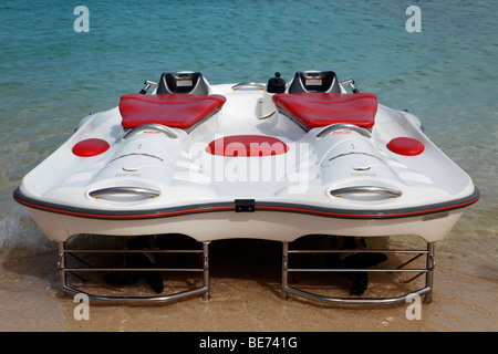 Modern glass bottom boat with electric motor, Beach Mahmya, beach, Giftun Island, Hurghada, Egypt, Africa, Red Sea - Stock Photo