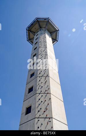 Climbing wall, climbing tower, Hochheideturm Tower, observation tower, Ettelsberg, Willingen, Upland, Hochsauerland, - Stock Photo