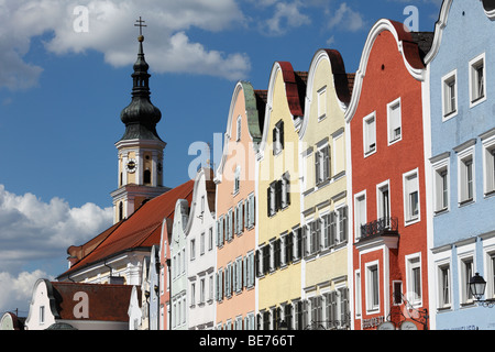 Silberzeile row of houses and the parish church, Schaerding, Innviertel, Upper Austria, Austria, Europe - Stock Photo