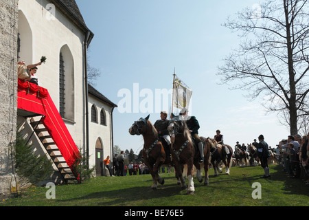 Georgiritt, George's Ride, Easter Monday procession, blessing, Ettendorf Church, Traunstein, Chiemgau, Upper Bavaria, - Stock Photo