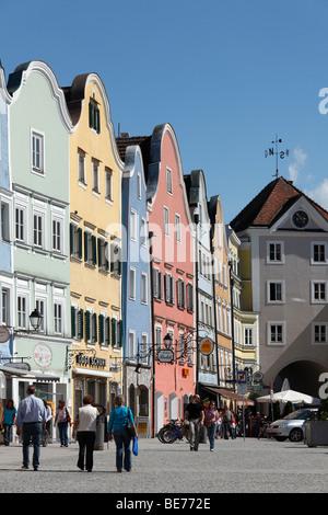 Silberzeile and Linzer Gate, Schaerding, Innviertel, Upper Austria, Austria, Europe - Stock Photo
