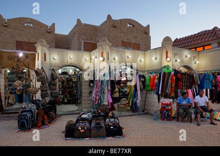Souvenir shop, souvenirs, vendor, illuminated, evening, Yussuf Afifi road, Hurghada, Egypt, Red Sea, Africa - Stock Photo