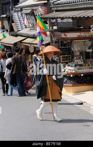 Buddhist mendicant monk in the old city of Kyoto, near the Kiyomizu-dera temple, Japan, Asia - Stock Photo