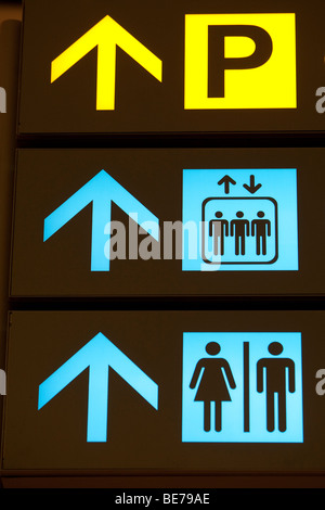 Changi International Airport, departure hall, sign-board, pictograms, parking area, elevator, restrooms, Singapore, - Stock Photo