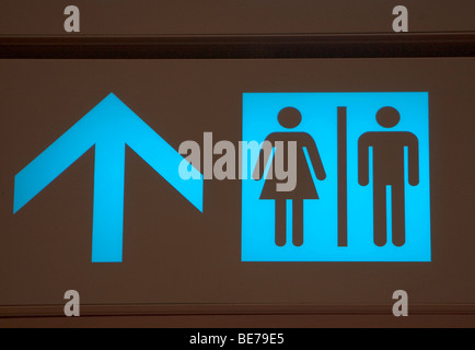 Changi International Airport, departure hall, sign-board, pictogram, restrooms, Singapore, Southeast Asia - Stock Photo