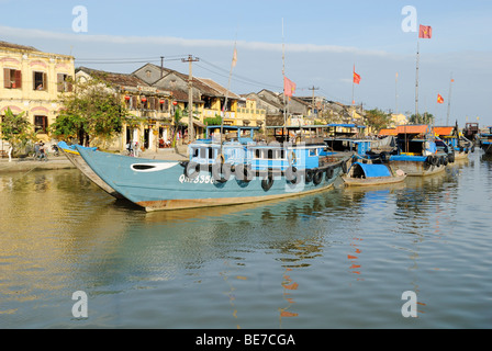 Fishing boat in the harbor of Hoi An, UNESCO World Heritage Site, Vietnam, Asia - Stock Photo