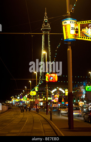 Blackpool, UK: Blackpool Tower and promenade during the annual illuminations - Stock Photo