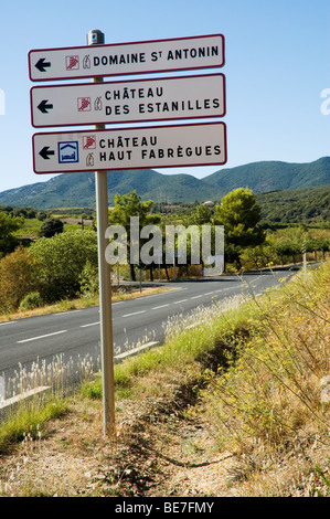 Sign to wine producers in the Faugeres region of Languedoc Roussillon in southern France - Stock Photo