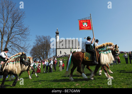 Georgiritt, George's Ride, Easter Monday procession, Ettendorf Church, Traunstein, Chiemgau, Upper Bavaria, Bavaria, - Stock Photo