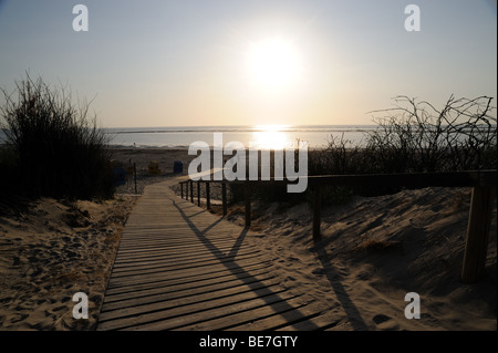 Beach Sand Sun Sea Ocean North Sea Langeoog Germany Dunes Sky cloud clouds - Stock Photo