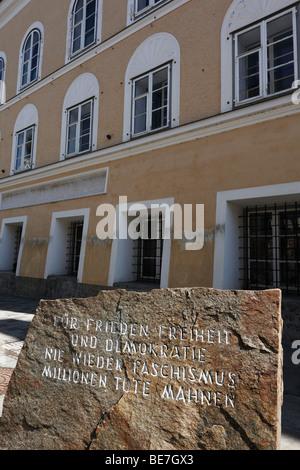 Memorial in front of Hitler's birthplace, Braunau am Inn, Innviertel, Upper Austria, Austria, Europe - Stock Photo