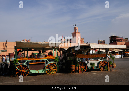 Orange Juice Stalls on Place Djemma el Fna, Marrakech, Morocco - Stock Photo