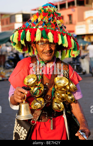 Morocco; Marrakech; Place Djemma el Fna; Waterseller - Stock Photo