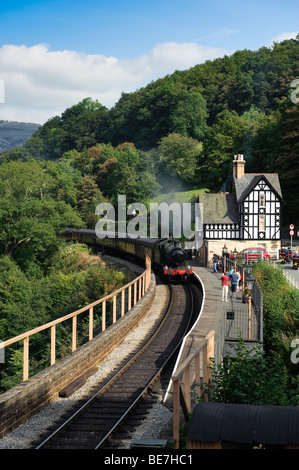GWR Steam train on the restored Llangollen railway heritage tourist line at Berwyn station in the Dee valley North - Stock Photo