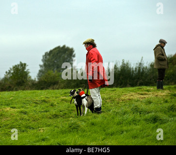 The Slipper Stood With Whippets Before Race - Stock Photo