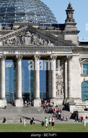 Berlin, the Reichstag building. EU/DE/DEU/GER/ Germany/ capital Berlin. The Reichstag building with the glass dome - Stock Photo
