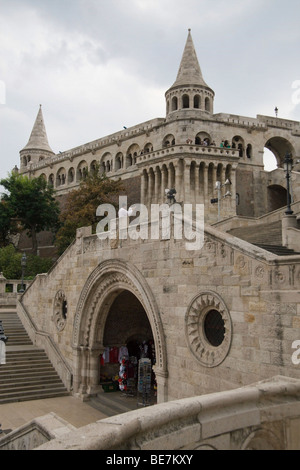The Fishermen's Bastion, a famous monument in the old Buda area of Budapest - Stock Photo