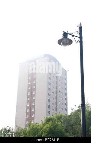 City apartments on misty day - Stock Photo